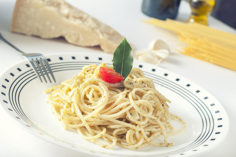 Italian pasta. A plate of italian pasta with veggies royalty free stock images