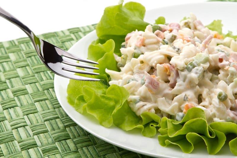 Italian pasta salad. Closeup view royalty free stock images