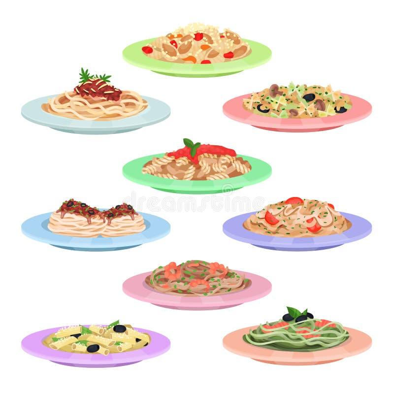 Italian pasta set, spaghetti dishes on plates cartoon vector Illustrations stock illustration