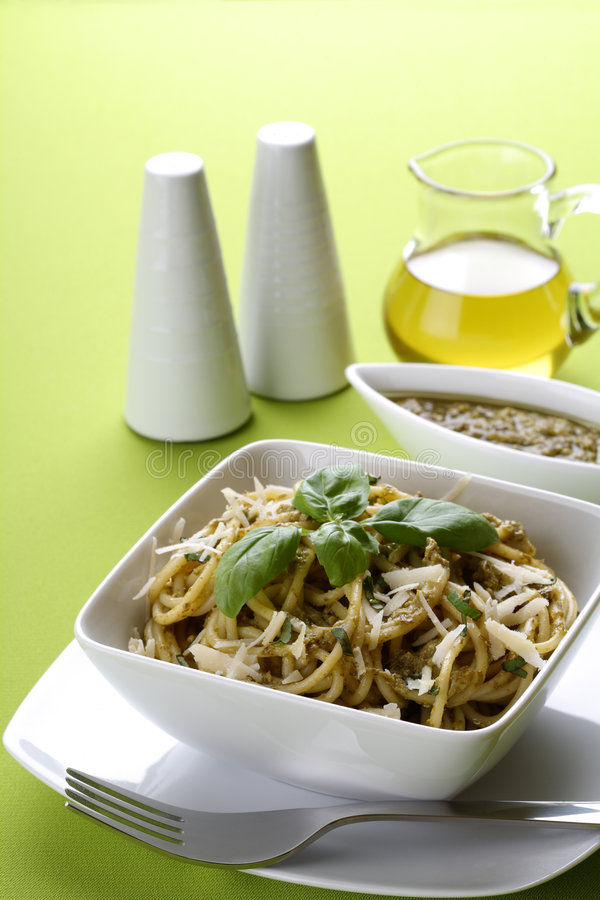 Download Italian Pasta Spaghetti With Pesto Stock Images - Image: 7518544