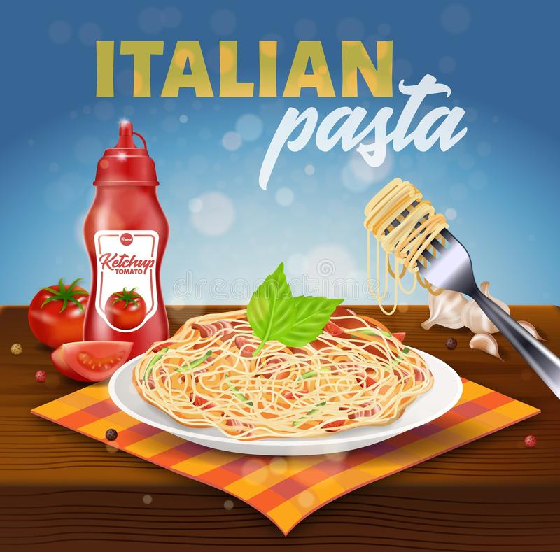 Italian Pasta Square Banner. Plate with Spaghetti. Covered with Bacon, Tomato Slices, Basil Stand on Textile Napkin on Wooden Table with Ketchup Bottle and Fork royalty free illustration
