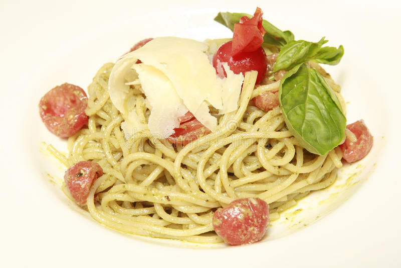 Italian pasta with tomato sauce and parmesan royalty free stock photo