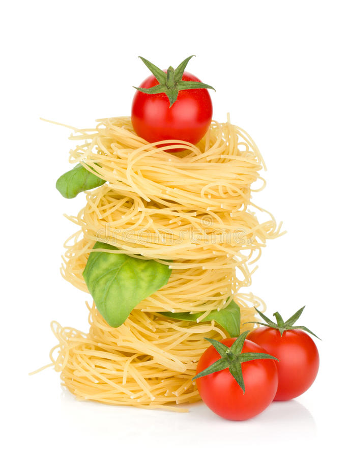 Download Italian Pasta, Tomatoes And Basil Royalty Free Stock Photography - Image: 23791567