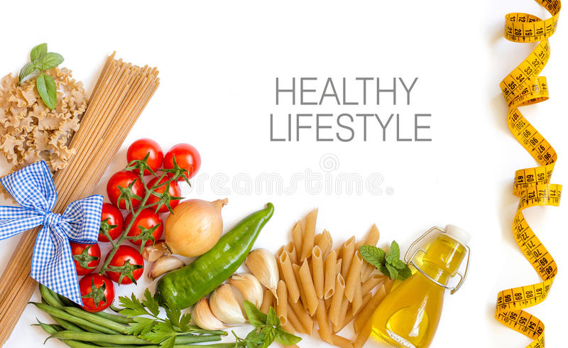 Italian Pasta with tomatoes, green beans, onion, garlic, herbs a. Nd olive oil on a white background (with space for text royalty free stock photos