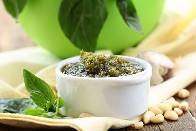 Italian pesto sauce with pine nuts royalty free stock photography