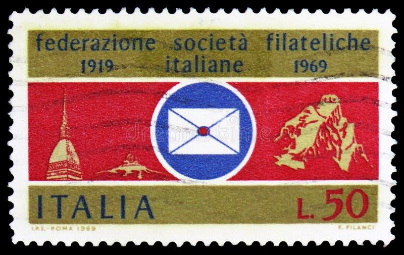 Italian Philatelic Federation, serie, circa 1969 stock photos