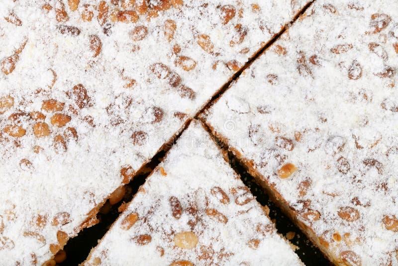 Italian Pine Nut Cake close up stock photo