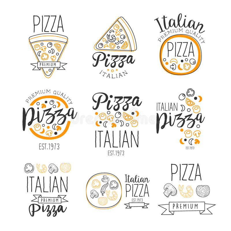 Italian Pizza Fast Food Promo Labels Collection royalty free illustration