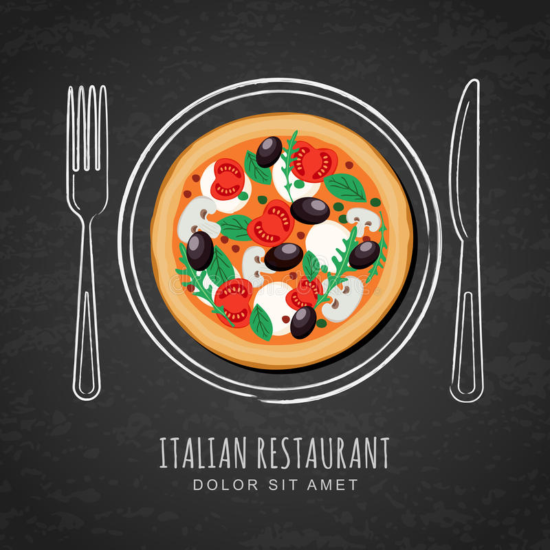 Italian pizza and hand drawing outline watercolor dish, fork and knife on textured black chalkboard background. royalty free illustration