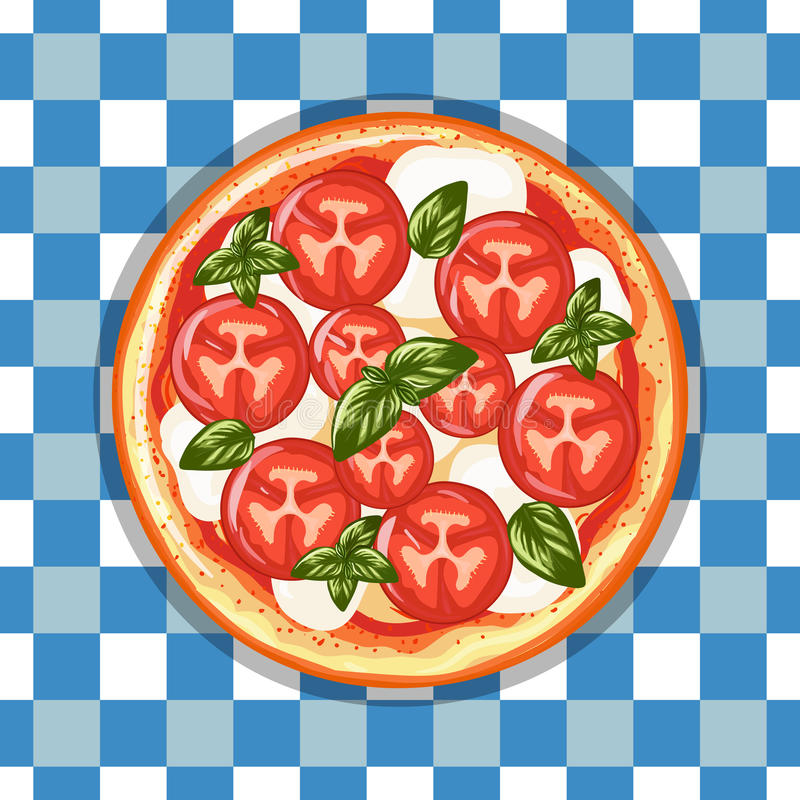 Italian pizza Margarita with tomatoes, cheese and basil. Hand dr. Awn illustration. Top view stock illustration
