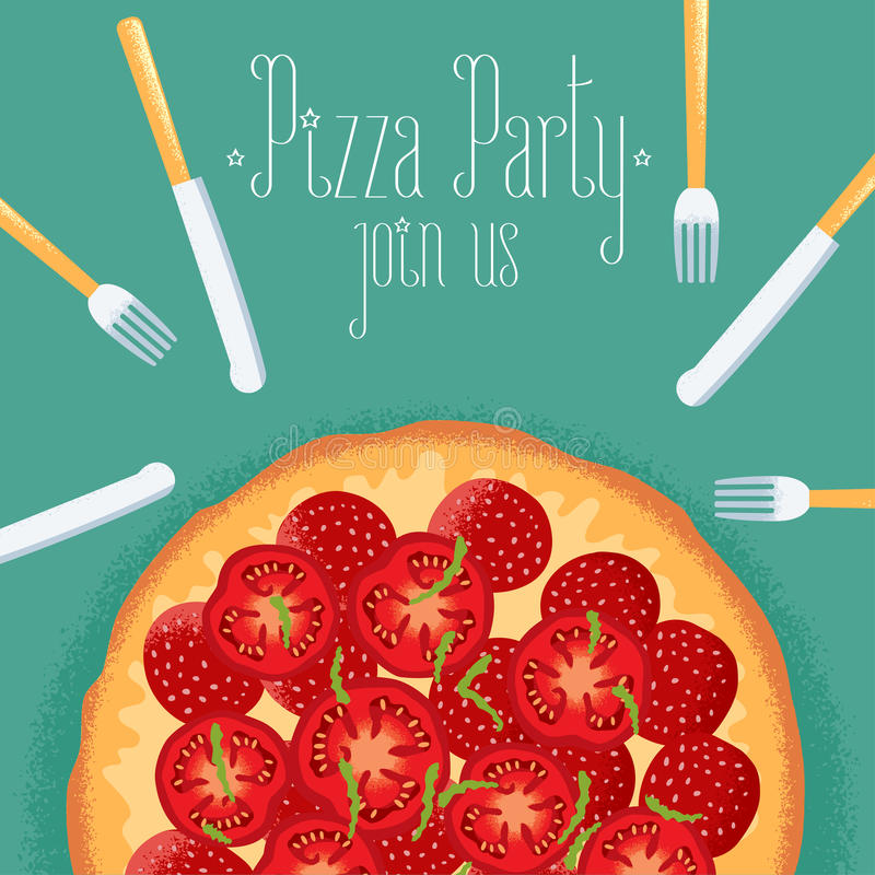 Italian pizza party invitation, celebration image royalty free illustration