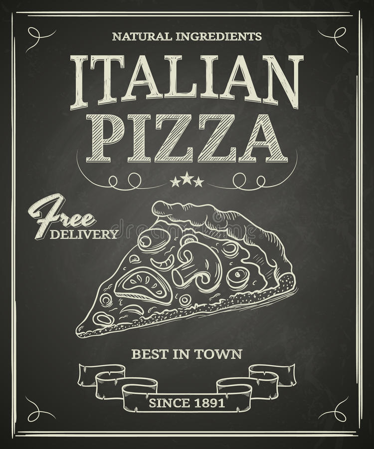 Italian Pizza Poster. On black chalkboard