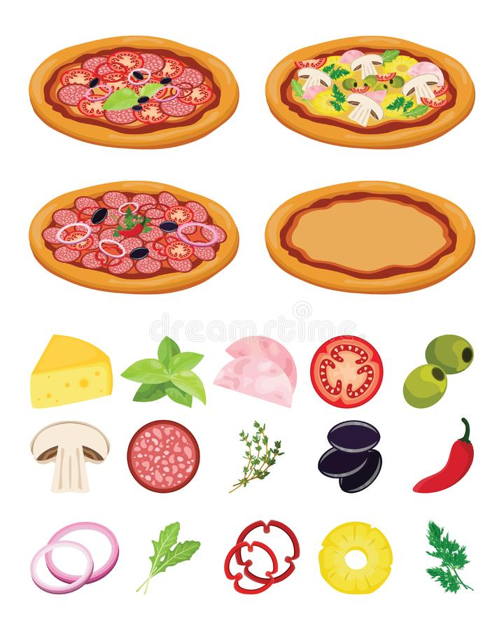 Italian pizza recipe. Cooking pizza with ingredients on white background vector illustration
