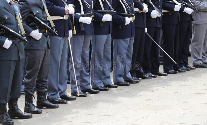 Italian police officers in uniform during the parade for the cel. Ebration of the Italian armed forces of June 2 stock photos