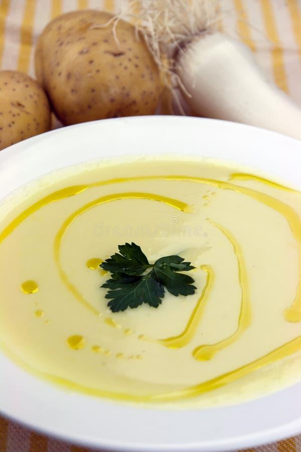 Italian potato and leek soup royalty free stock photography