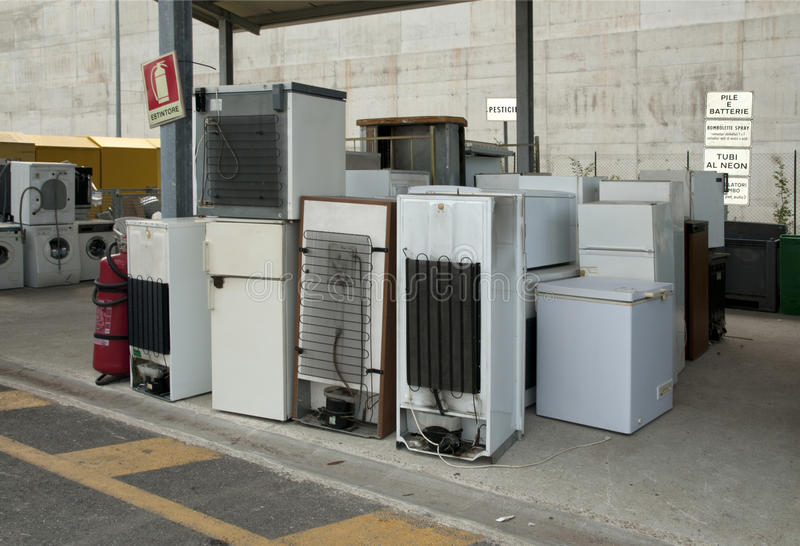 Italian Recycling center (Raee) - Appliances royalty free stock image