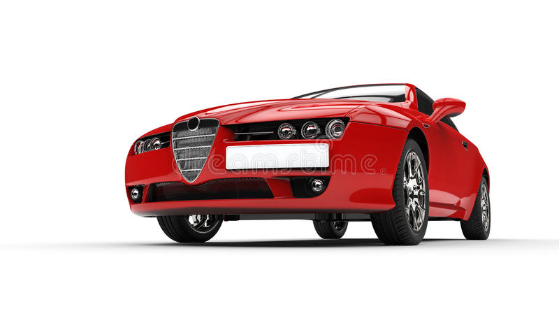 Italian red car. On white background stock photography