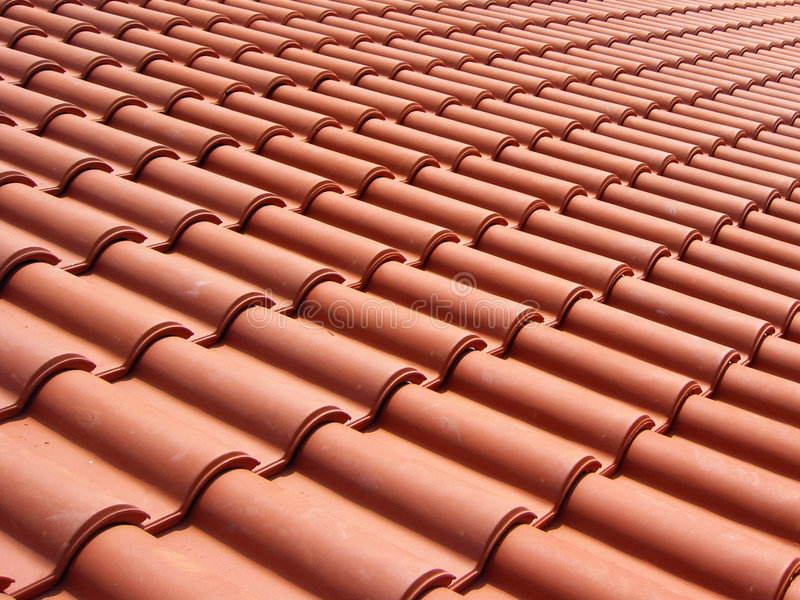 Italian red roof tiles stock photos