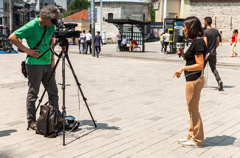 Italian reporters from Rai News 24 channel stock photo