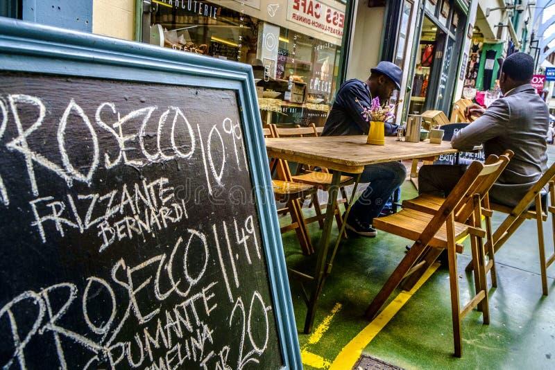 Italian restaurant in the market of Brixton stock photo