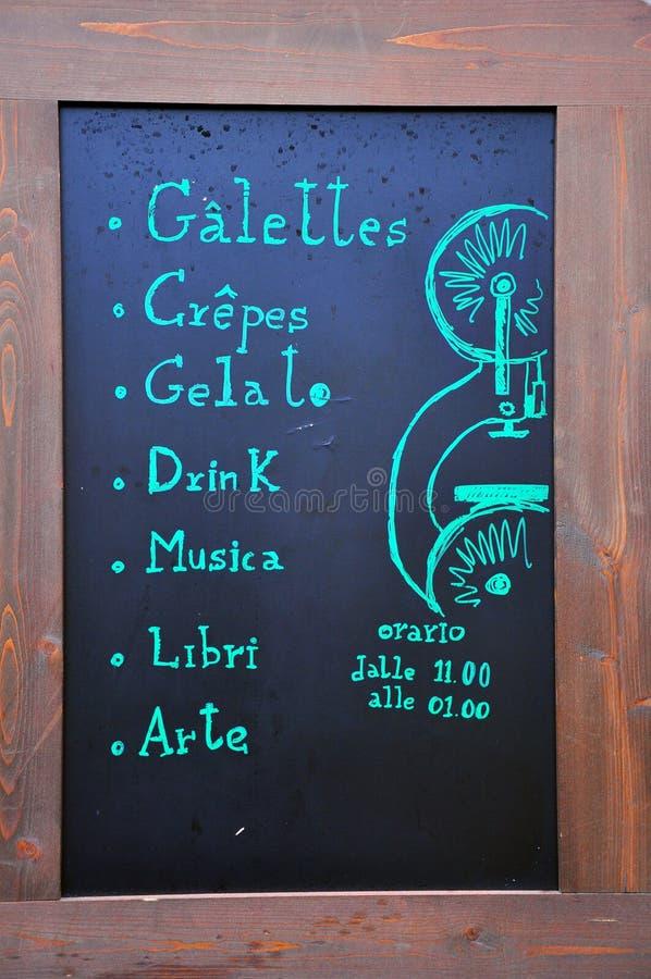 Italian Restaurant Menu Stock Image