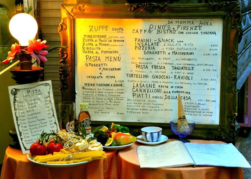 Italian restaurant menu in Florence city , Italy stock photo