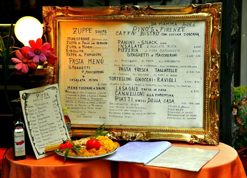 Italian Restaurant Menu On A Table Editorial Image