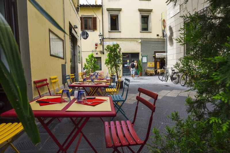 Italian restaurant,pizzeria and trattoria,Florence.Tuscany. stock photos