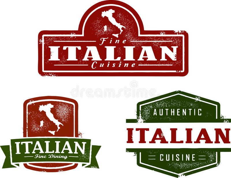 Italian Restaurant Vintage Stamps vector illustration