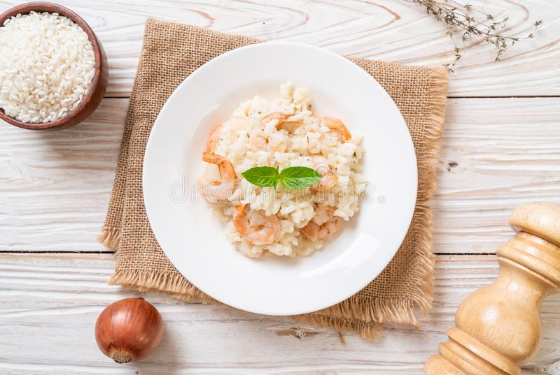 italian risotto with shrimps stock image