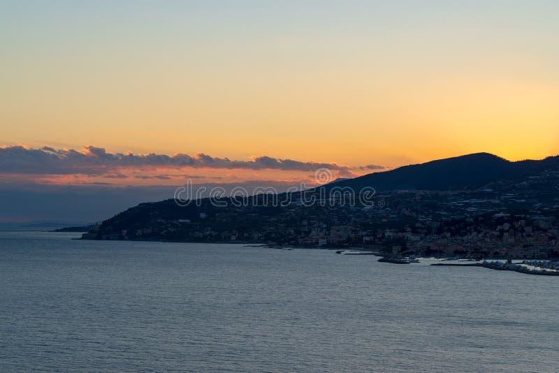 Italian Riviera at evening light. Italy. Ligurian coastline at evening light royalty free stock images