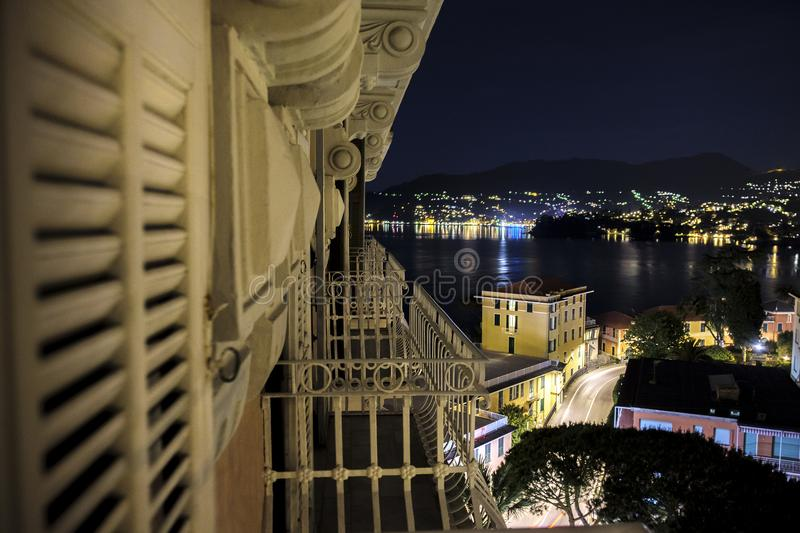 Italian riviera night scene panoramic terrace view Genova, Liguria Italy royalty free stock photography