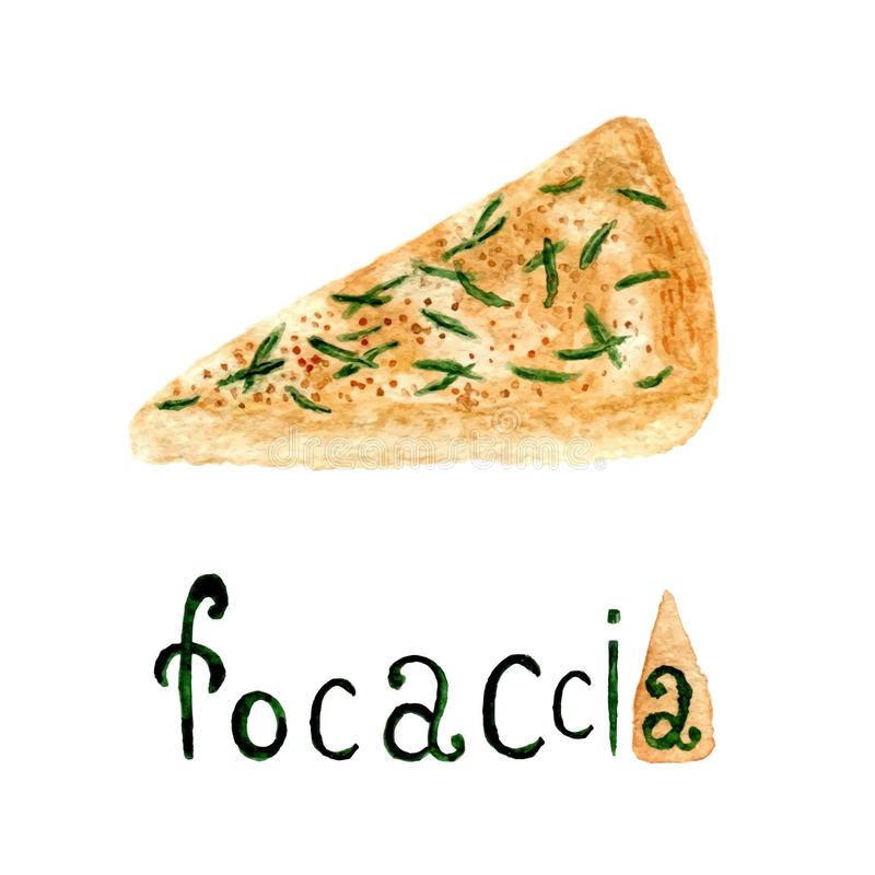 Italian rosemary Focaccia bread. Vector watercolor food illustration. Watercolor bread product. Italian rosemary Focaccia bread. Vector watercolor food royalty free illustration