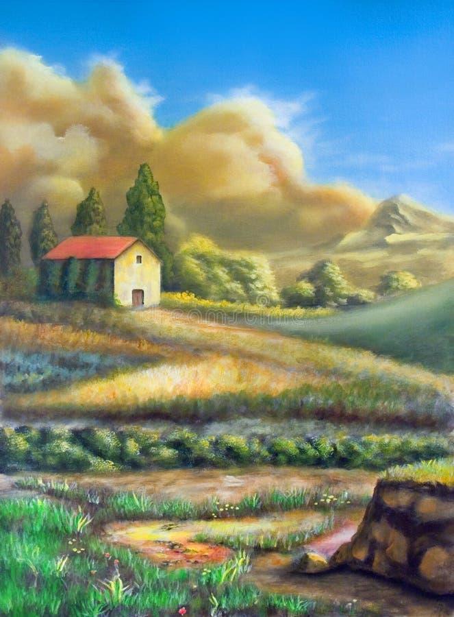Download Italian rural landscape stock illustration. Image of crops - 3779136
