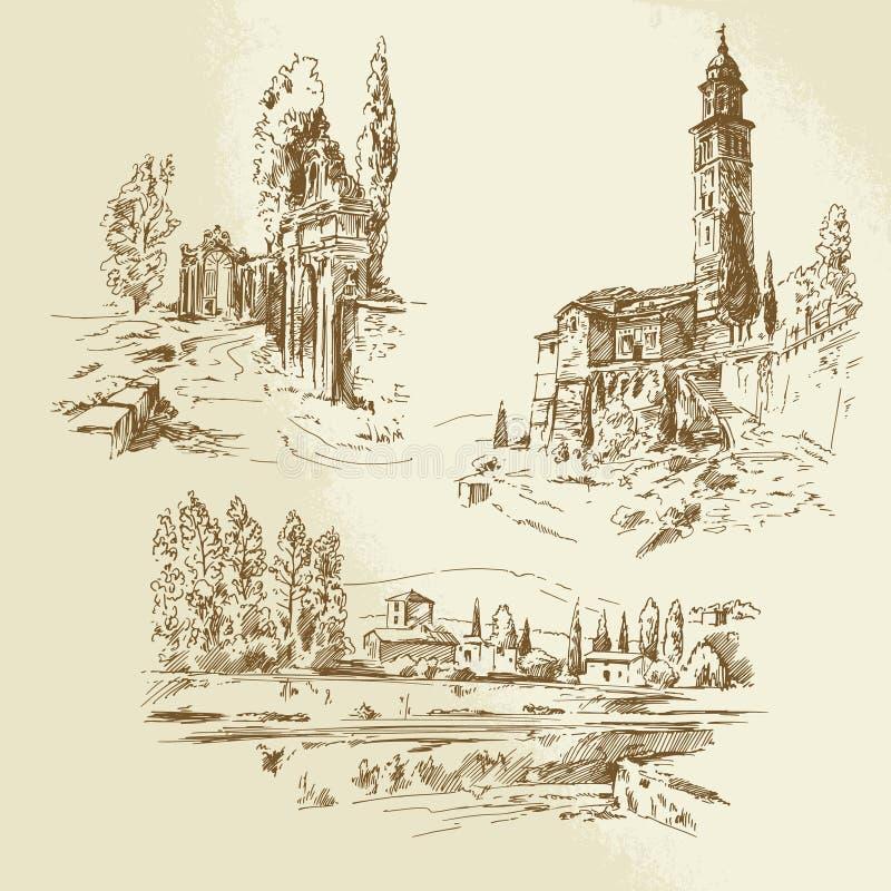 Download Italian rural landscape stock vector. Illustration of background - 34622461