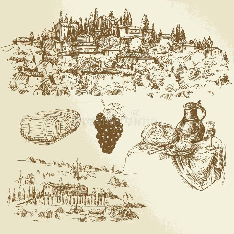 Italian rural landscape - vineyard. Hand drawn illustration vector illustration