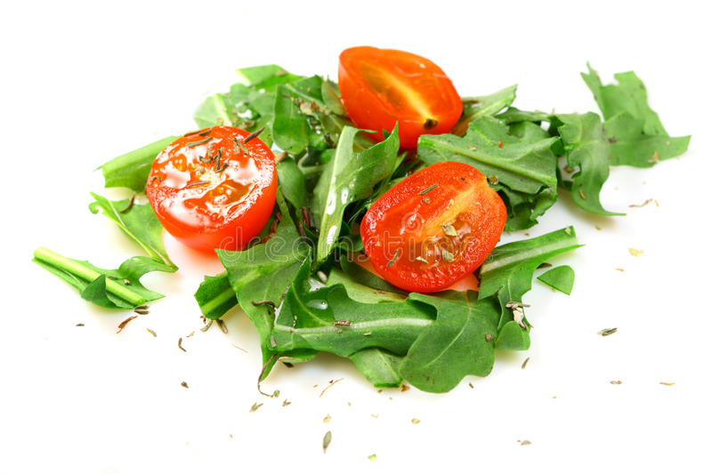 Italian salad of tomato and rucola royalty free stock photography