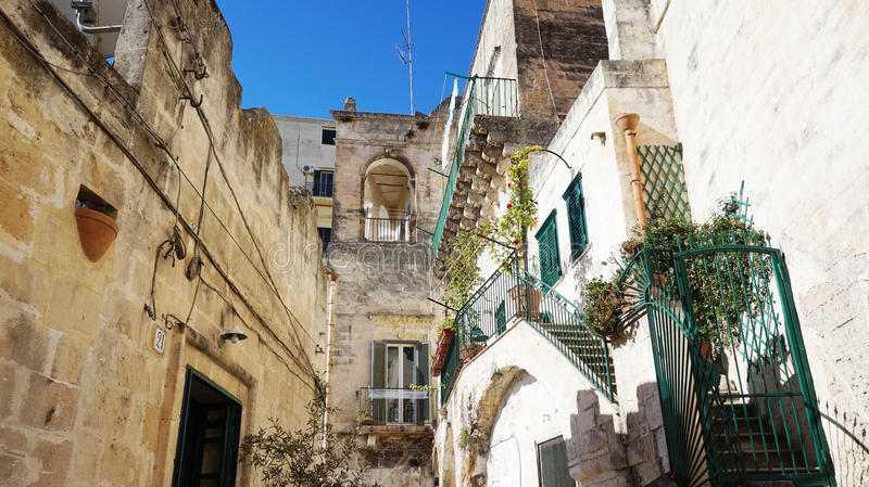 Italian scenery: beautiful little white houses in the old town of Matera, UNESCO World Heritage Site and European Capital of Cultu. Re 2019 stock photos