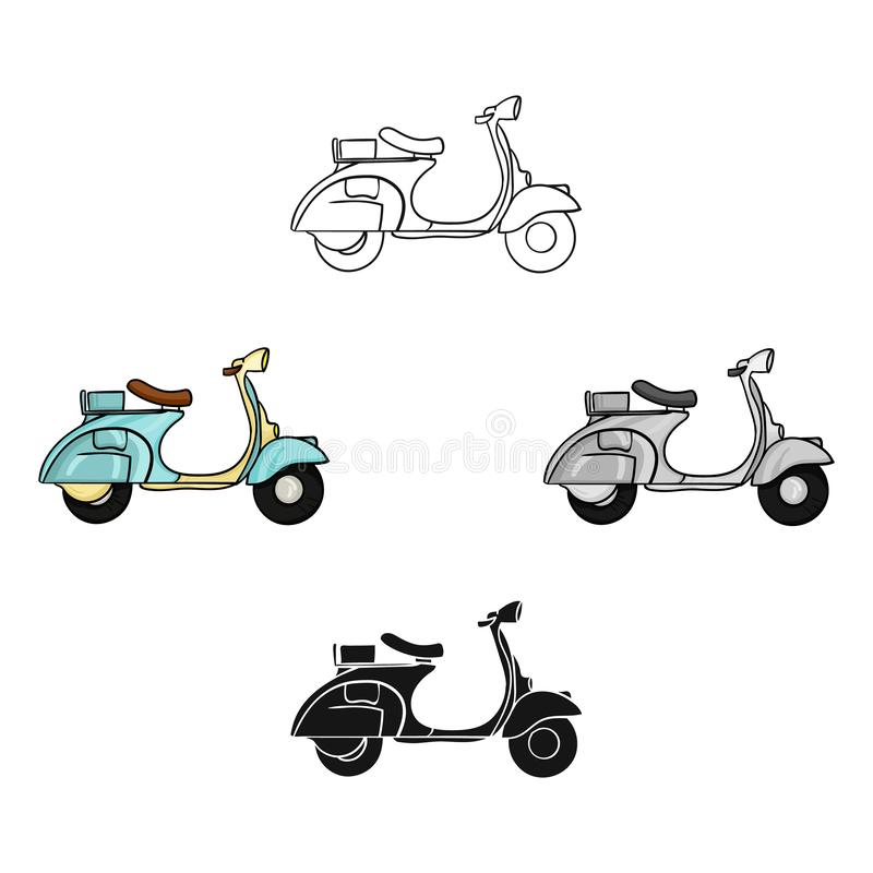 Italian scooter from Italy icon in cartoon style isolated on white background. Italy country symbol stock vector. Italian scooter icon in cartoon style isolated vector illustration