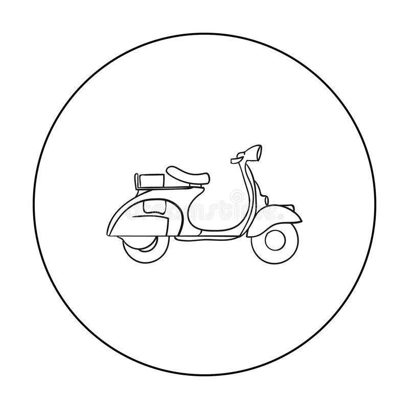 Italian scooter from Italy icon in outline style isolated on white background. Italy country symbol stock vector. Italian scooter icon in outline style isolated royalty free illustration