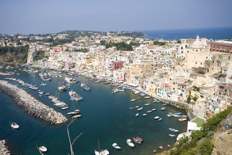 Italian sea coast, procida, naples stock photography