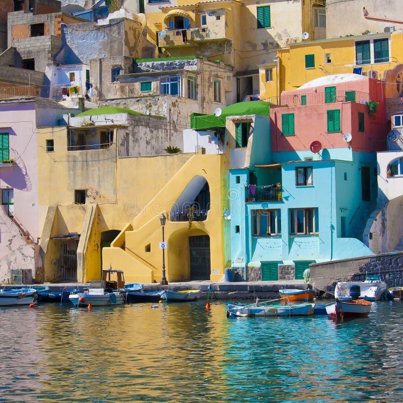 Italian sea coast, procida, naples royalty free stock images