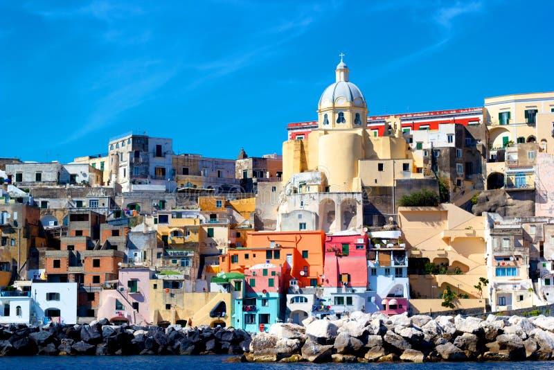 Italian sea coast, procida, naples royalty free stock image