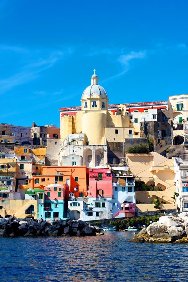 Italian sea coast, procida, naples stock photos