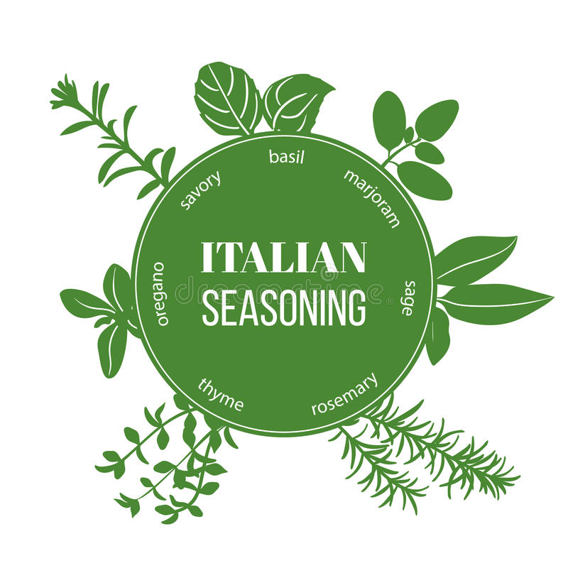 Italian seasoning flat silhouettes stock illustration