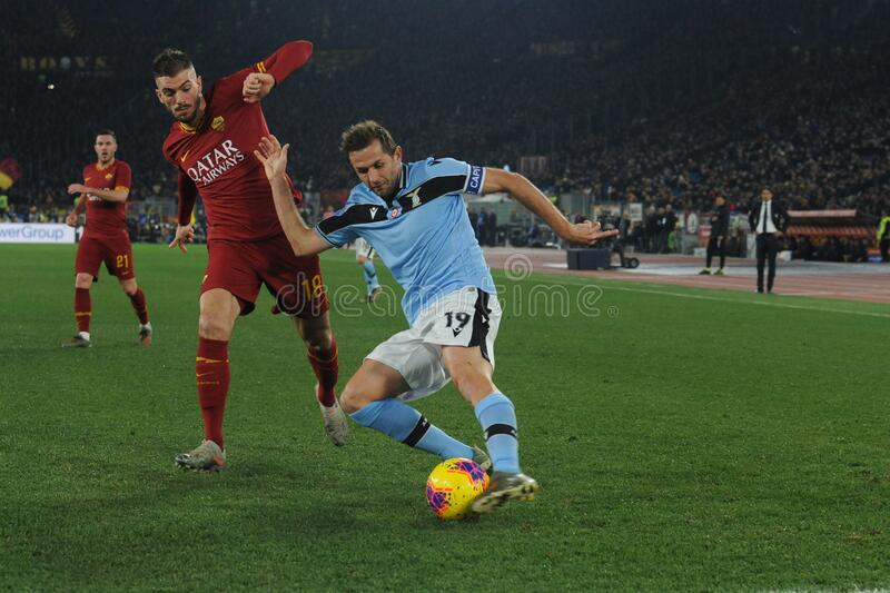 italian Serie A soccer match AS Roma vs SS Lazio stock images