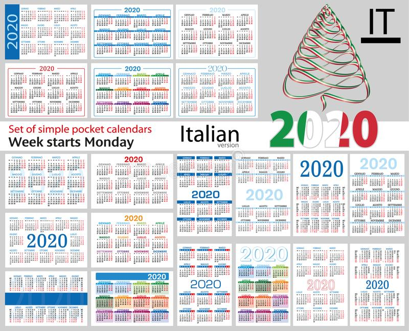Italian set of pocket calendars for 2020 vector illustration