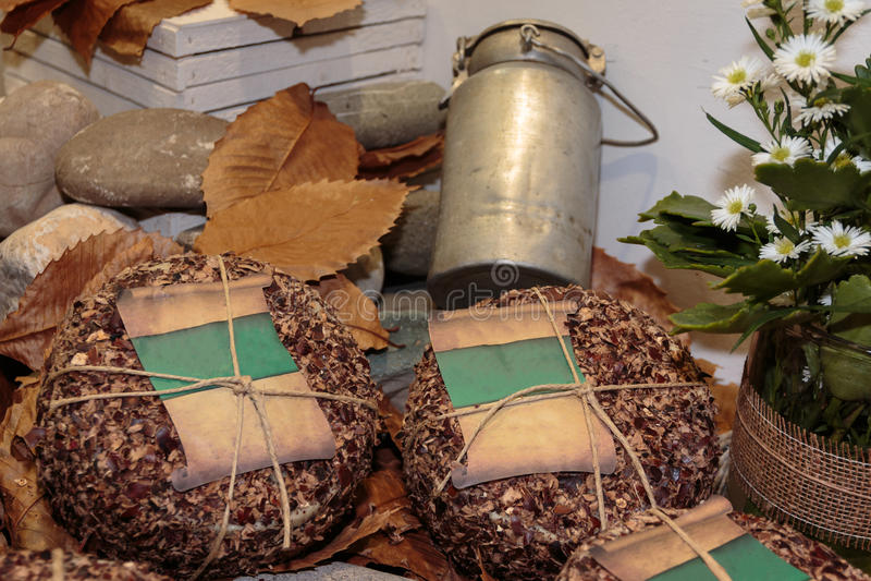 Italian Sheep`s Milk Cheese: Aged Pecorino, Dry Leaves and Antiq stock photography