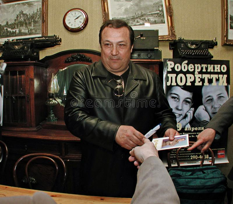 Robertino Loretti, visit in Moscow, Russia, 20-04-2003. Italian singer Robertino Loretti, visit in Moscow, Russia, 20-04-2003 The idols of the past, the star of stock photography