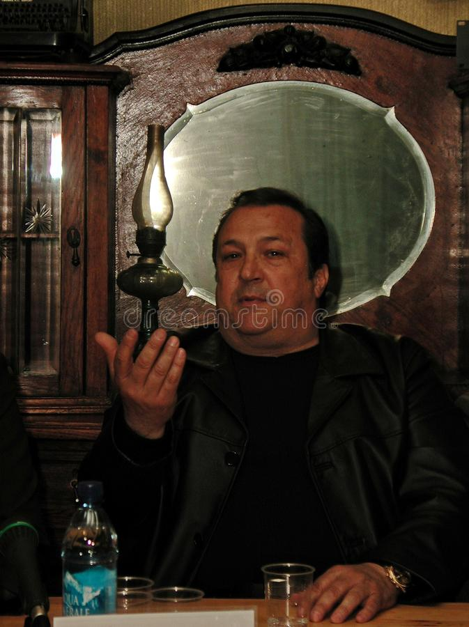 Robertino Loretti, visit in Moscow, Russia, 20-04-2003. Italian singer Robertino Loretti, visit in Moscow, Russia, 20-04-2003 The idols of the past, the star of stock image